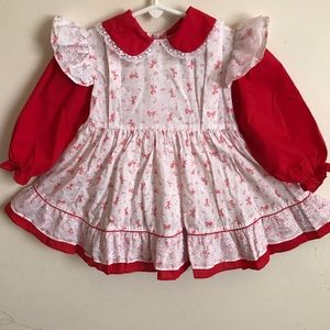 Other - Rare Vintage 1970's Red Lace Pinafore Apron Dress